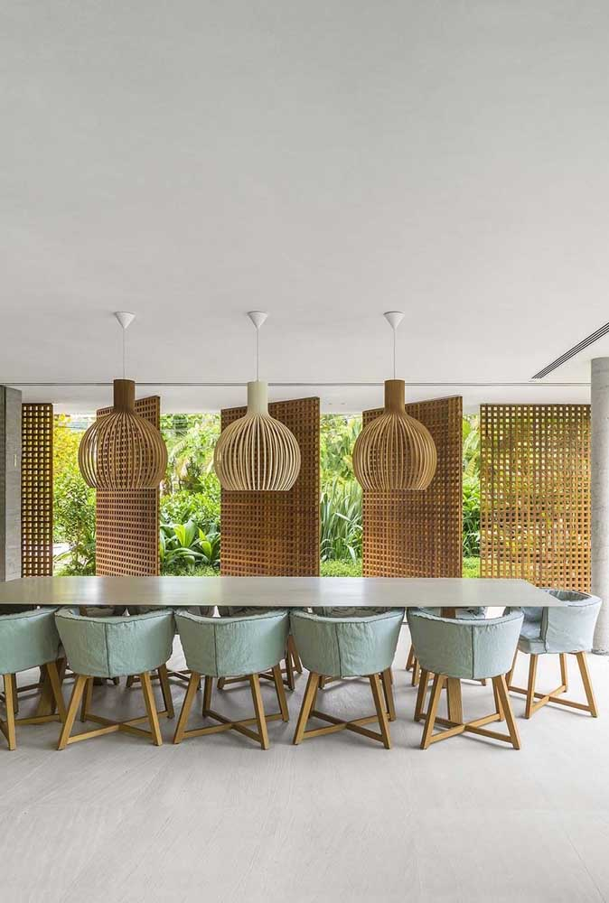 22. Large dining room matches upholstered and bulky chairs.