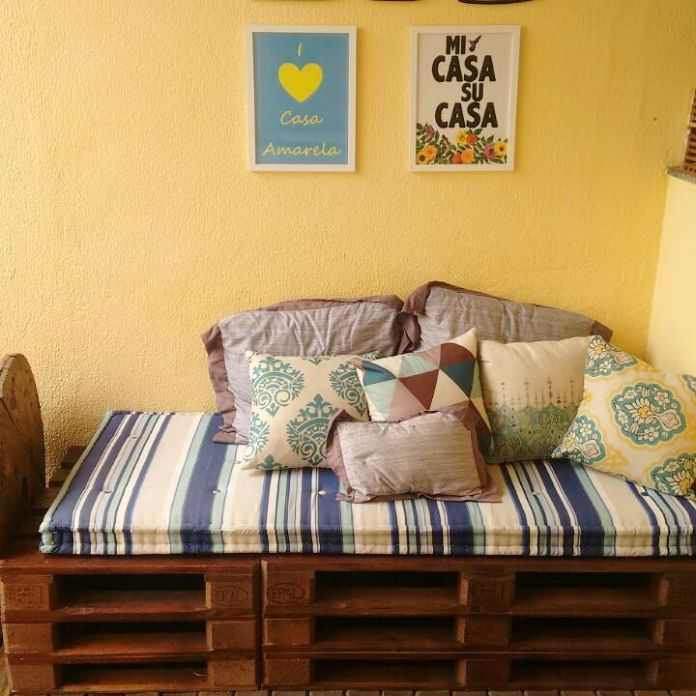 35. The pallet sofa is great for covered outdoor areas