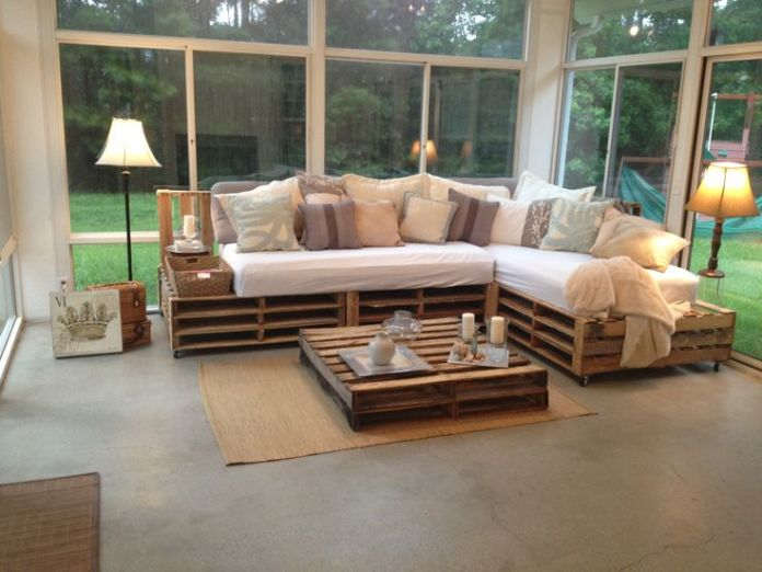 44. L-pallet sofa with several decorative pillows