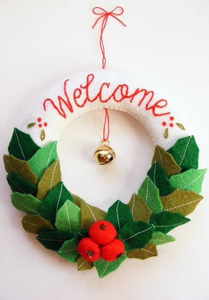 50. Felt Christmas wreath for entrance door.