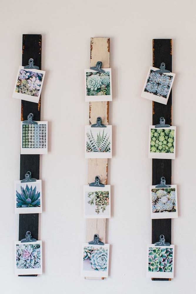 12. Want to get your hands dirty and make the photo panel yourself?To do this, take some pieces of wood of the same size and shape, nail something to hold the photos and organize it your way.