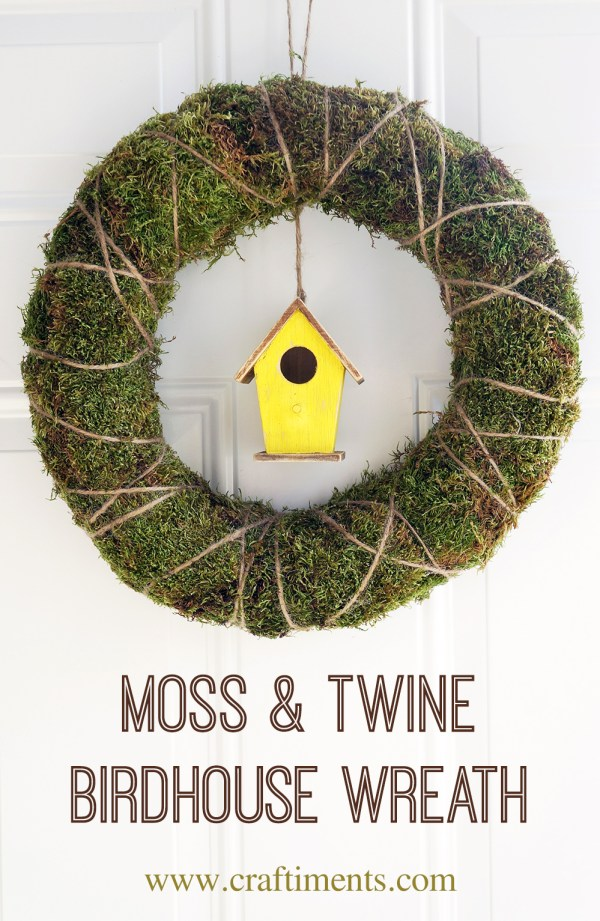 Craftiments Moss Twine Birdhouse Spring Wreath 1