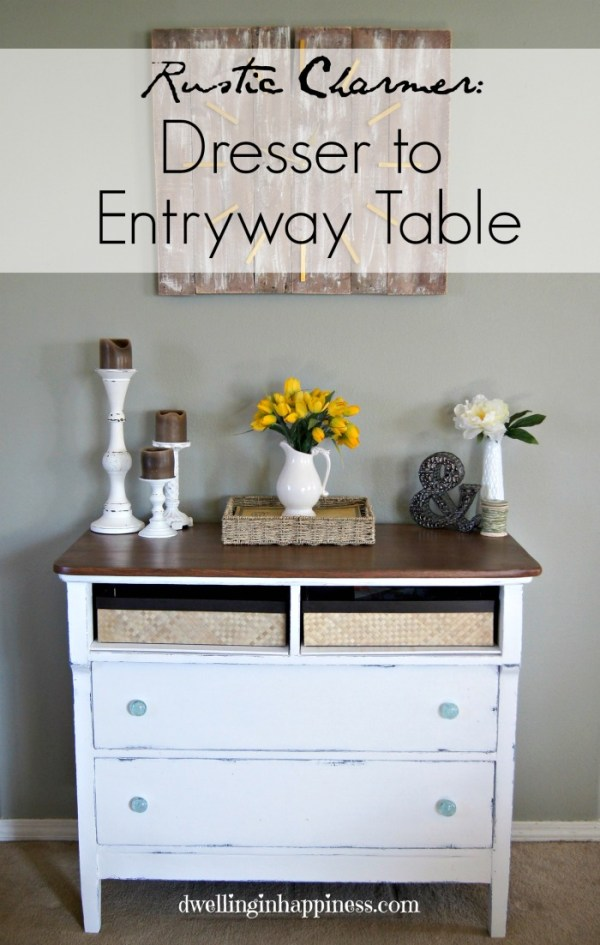 Such a dramatic makeover! A dresser turned into a rustic entryway table, using baskets and Decoart's Americana Chalky Finish paint! | Dwelling in Happiness    #furniture #dresser #redo #chalkpaint