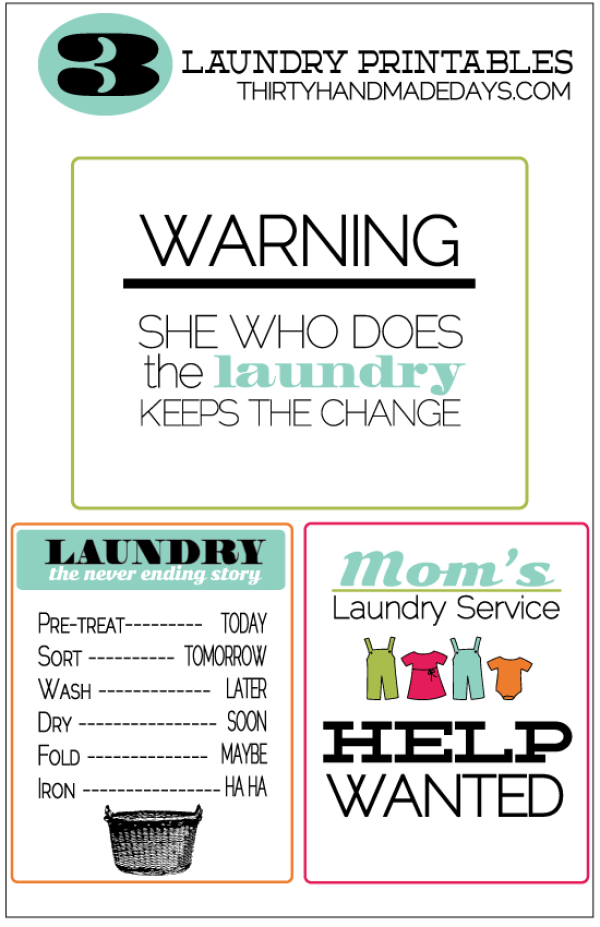 free laundry printables