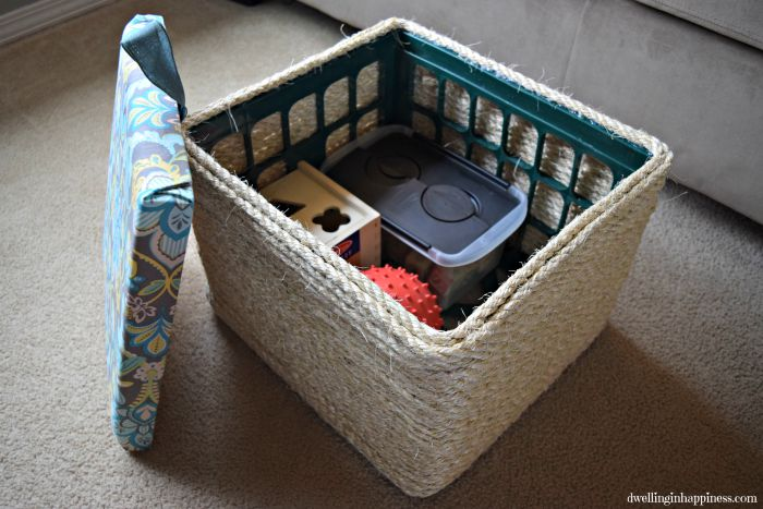 Diy Sisal Rope Ottoman From A Milk Crate