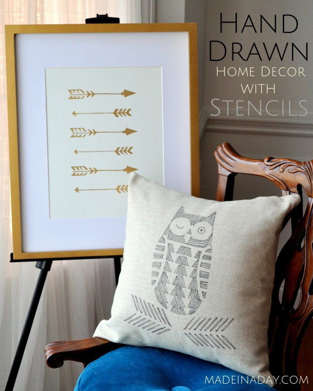 Arrow-Wall-Art-Owl-Hand-Drawn-Pillow-Cutting-Edge-Stencils-madeinaday.com-1-641x800