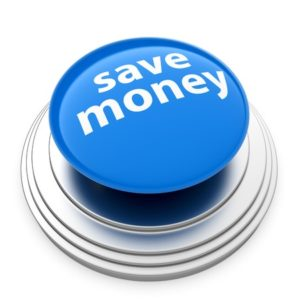 30451200 - 3d render of blue save money button isolated on white background