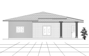 Single Story four bedroom house plan front elevetation