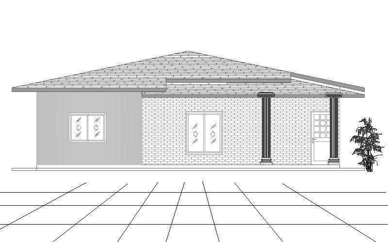 Single Story four bedroom house plan front elevetation