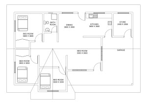 three bed room house plan