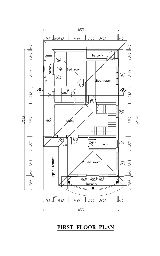 First floor plan of double story house