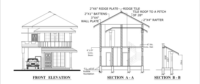Elevation Plan Requirements : Four bed room double story house plan