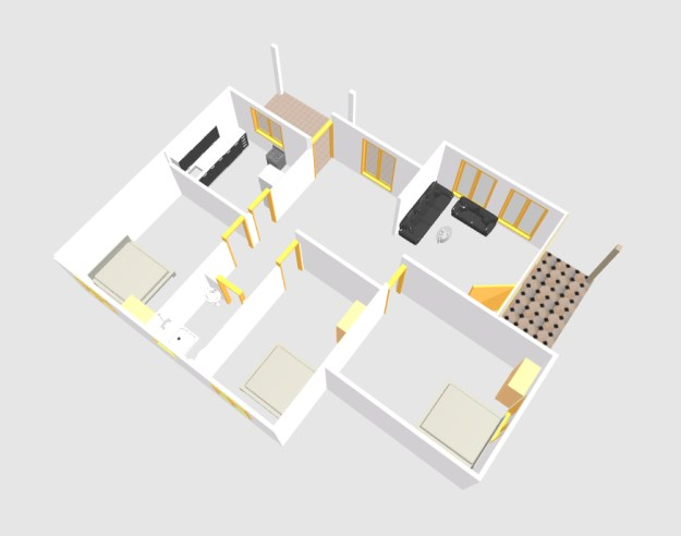 Three bed room single story 3d small house plan