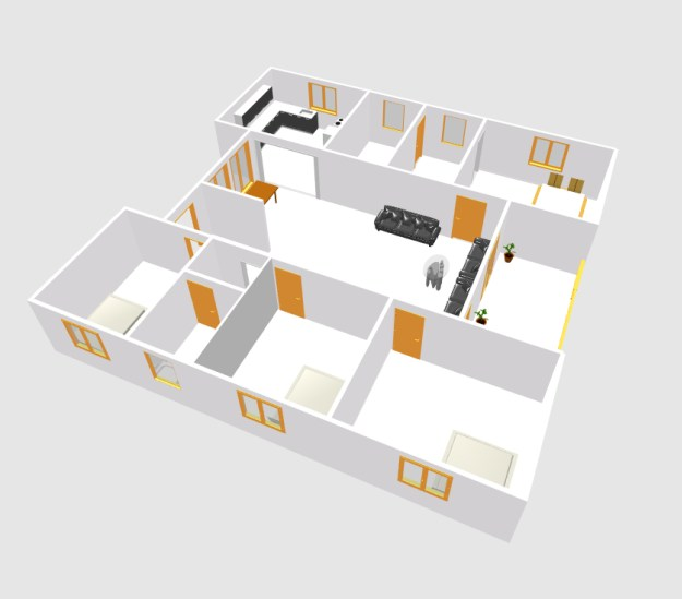 European type four bed room house plans (2)