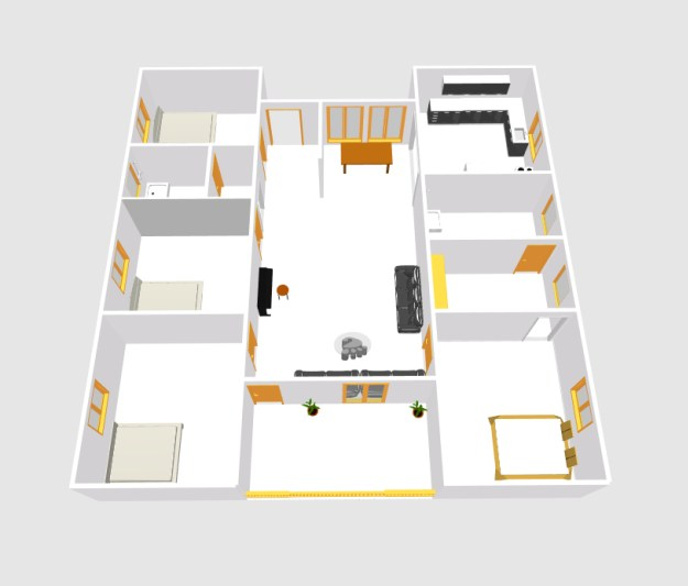 European type four bed room house plans (4)