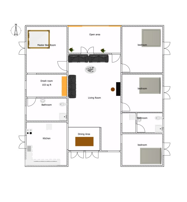 European type four bed room house plans (5)