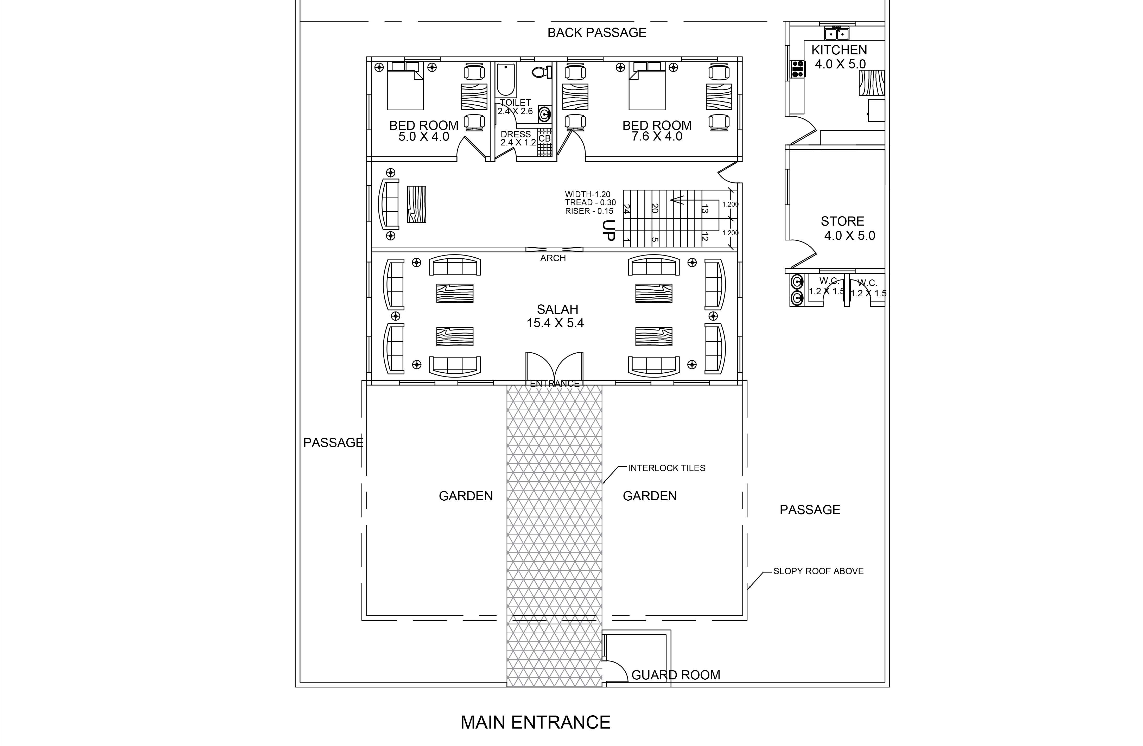 Middle East Style One Bedroom Rest House Villa Dwg Cad File
