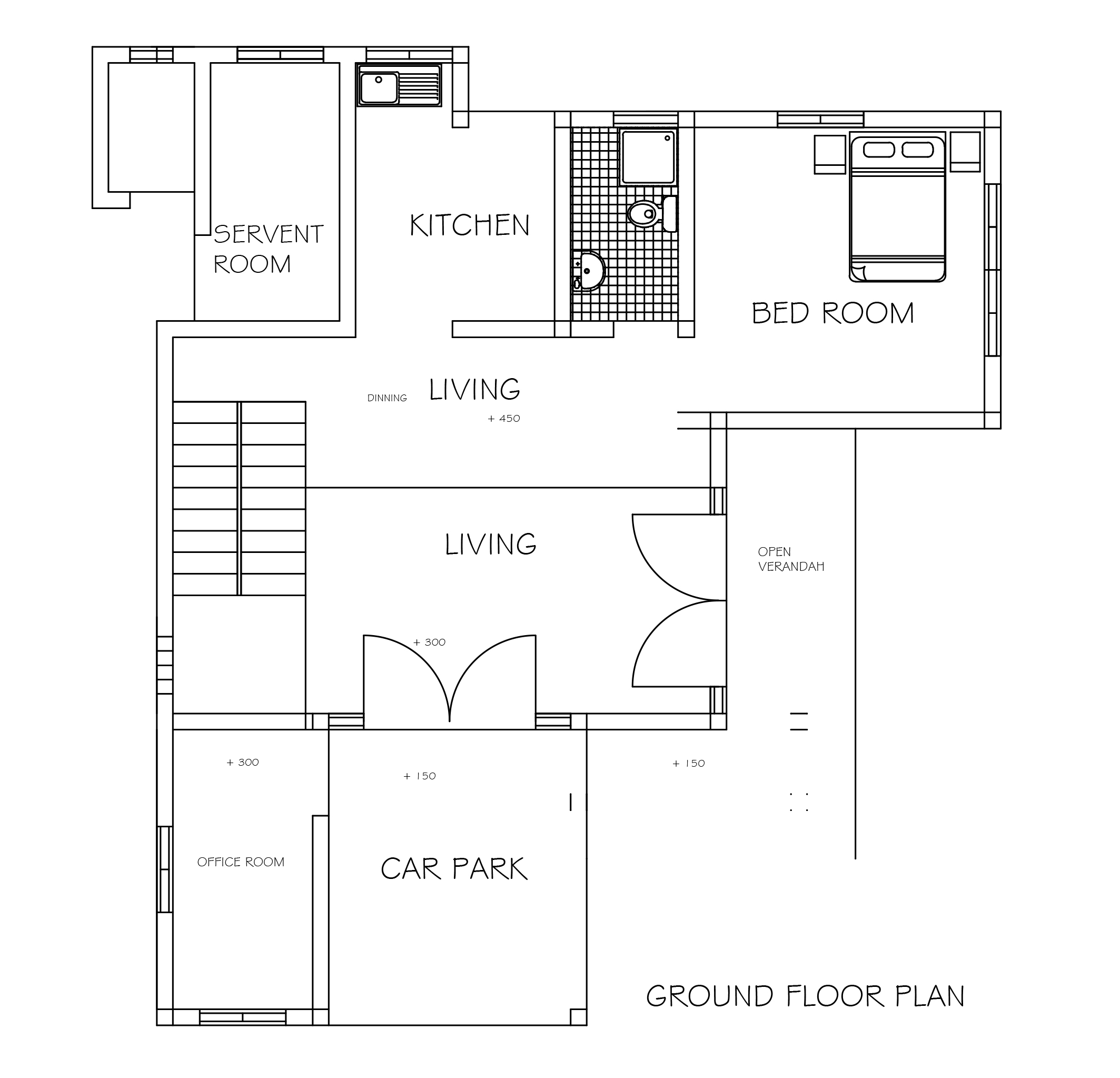 Three bedroom double story beautiful house plan dwg net for House plan cad file