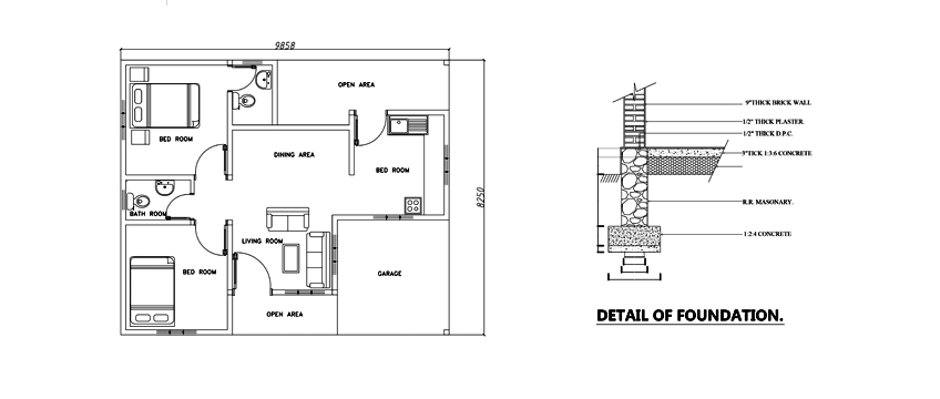 Two bed room modern house plan dwg net cad blocks and for Free online room planner no download