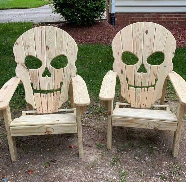 Skull Adirondack Chairs (Sold as a Set)