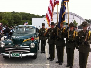 Vermont State Police 1930's patrol car and color guard