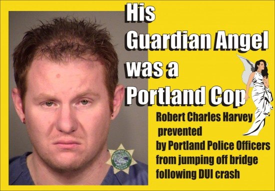 DUI driver Robert Harvey prevented from jumping from bridge by Portland Cop