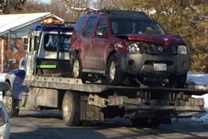 Police impound the vehicle driven by David Rodriquez after he killed Vanessa Dixon at a bus stop in the White Oak section of Montgomery County, Md.  photo courtesy WJLA/Kevin Lewis