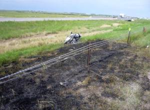 Motorcycle crashed and burned