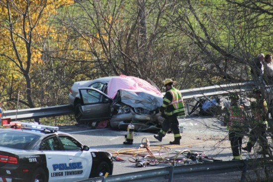 Fatal crash scene Brandon Creyer 2 dead Lehigh Valley Live DUI on cough syrup and synthetic pot
