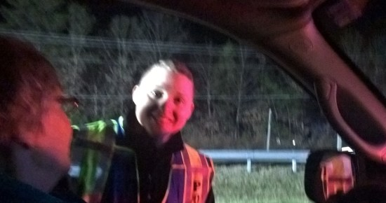 Federal Police Officer assisted Maryland State Police and Charles Sheriff's Officers on Rt. 228 Waldorf sobriety checkpoint on Dec. 16, 2015. in memory of Montgomery County Police Officer Noah Leotta who was killed in 2015 by a DUI driver.  THE CHESAPEAKE TODAY photo