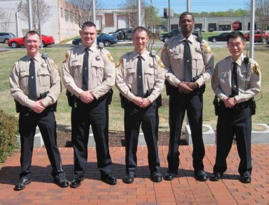 Gwinnett County Sheriff new deputies A DeVries, C. Green, D. Jardine, W. Hobbs, and W. Lee