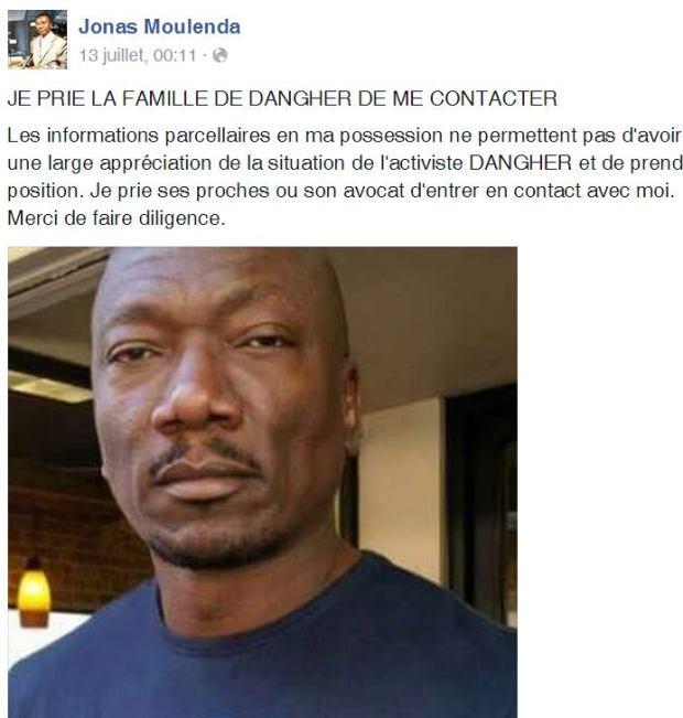 Déclaration de Monsieur Jonas MOULEDA sur son facebook-le 13 juillet 2015