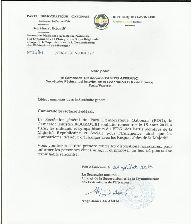 GABON-FRANCE-COMMUNIQUE-RENCONTRE DU SECRETAIRE GENERAL DU PARTI DEMOCRATIQUE GABONAIS-15 AOUT 2015