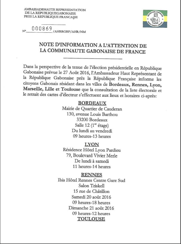 GABON PRESIDENTIELLE 2016-NOTE D'INFORMATION A L'ATTENTION DE LA CAOMMUNAUTE GABONAISE DE FRANCE