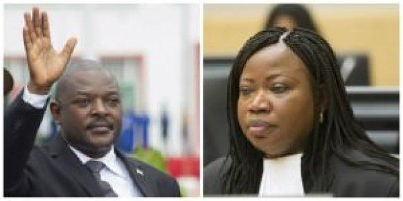 A gauche, président du Burundi Pierre Nkurunziza. A droite, Fatou Bensouda, procureure générale de la Cour pénale internationale. (Crédits : Reuters)