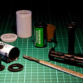 Filme 135 em câmeras 120 usando um adaptador handmade