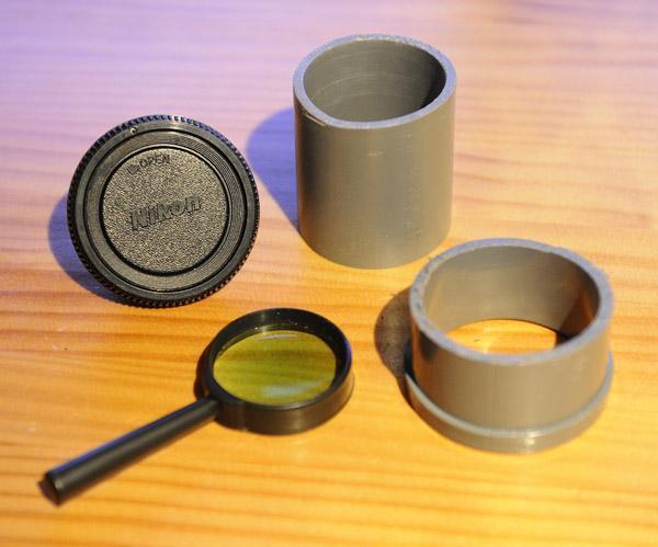 Lente fotográfica construída com cano de PVC e lupa - DXFoto 01