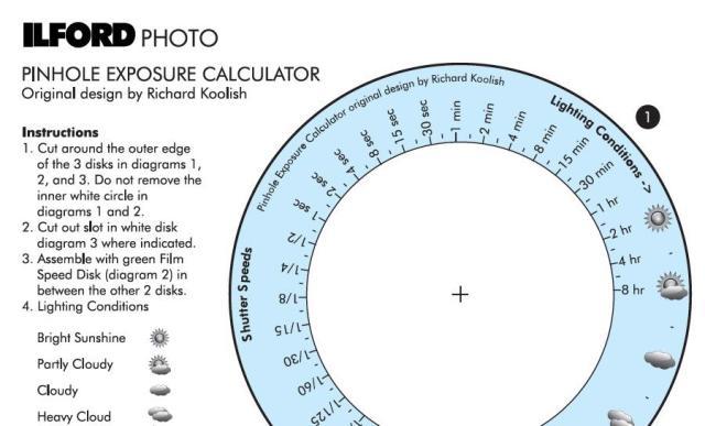 Calculadora de exposição para fotografia pinhole Ilford