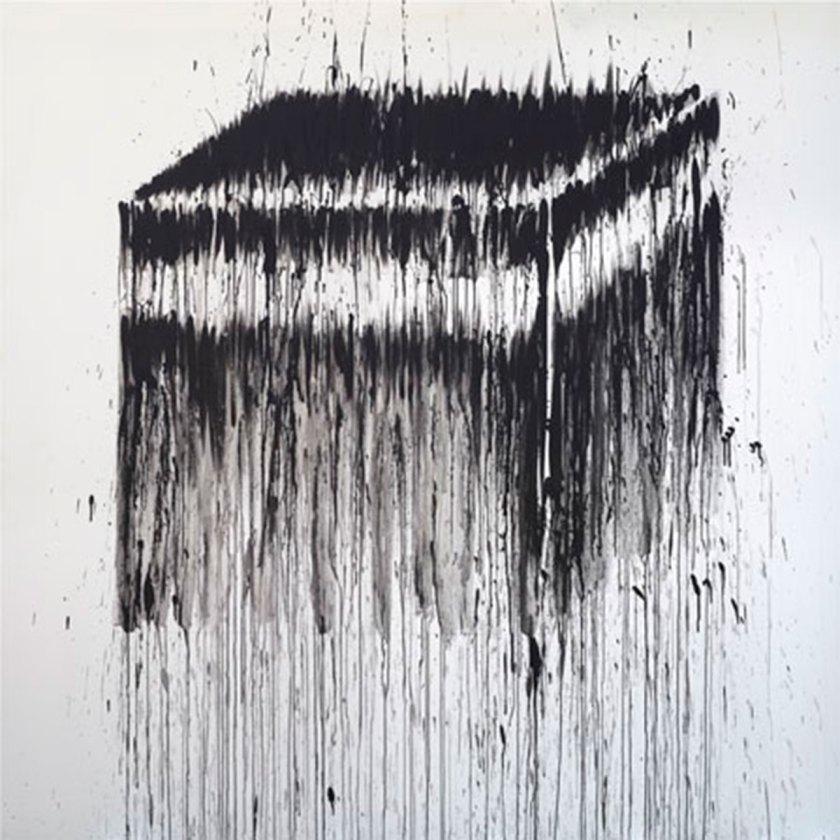 """Kader Attia, """"Black Cube I"""" Oil On Canvas, 200 X 200 Cm, 2006 Collection Yola Noujaim"""
