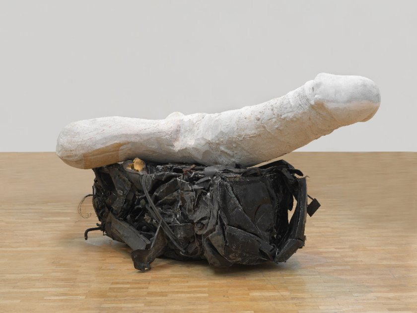 Sarah-Lucas,-Eros,2013,cast-concrete,crushed-car,installation-SITUATION-Absolute-Beach-Man-Rubble,Whitechapel-Gallery,London,2013©-Sarah-Lucas,-courtesy-Sadie-Coles-HQ