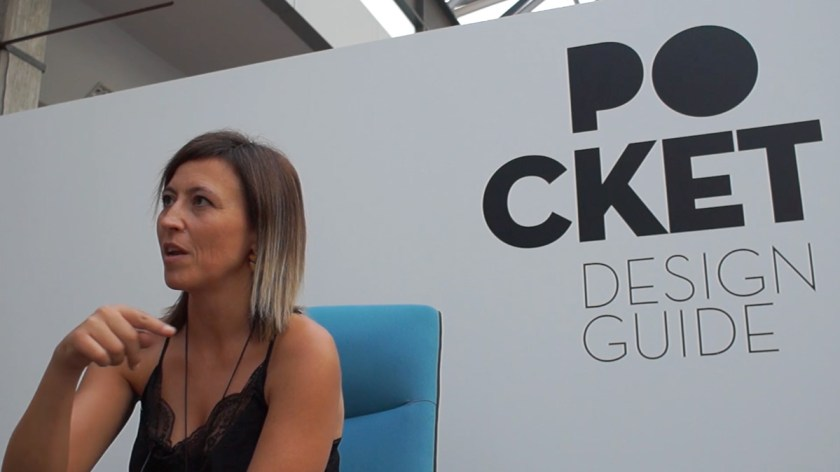 """Lucas Abajo de la editora """"Abana Bilbao"""" responde al cuestionario de POCKET DESIGN GUIDE durante la Feria Hábitat Valencia el pasado mes de septiembre."""