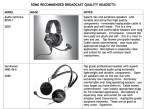 Headsets Reviews and Observations
