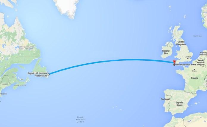 Signal Hill, Newfoundland Canada, to Poldhu, Cornwall, England.