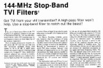 144 Mhz Stop band TVI filters