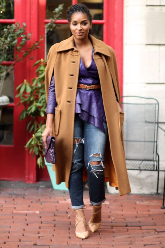 Dyandra-Raye-Tan-Cape-Coat-Purple-Leather-Jacket
