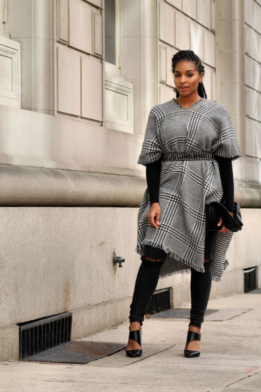 Black-And-White-Plaid-Poncho-Dyandra-Raye