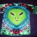tie dye, tie-dye, tie dyed, tie-dyed, shirt, alien, green