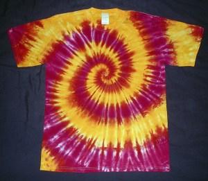tie dye, tie-dye, tie dyed, tie-dyed, shirt, yellow, swirl, ASU, sun devils, arizona state