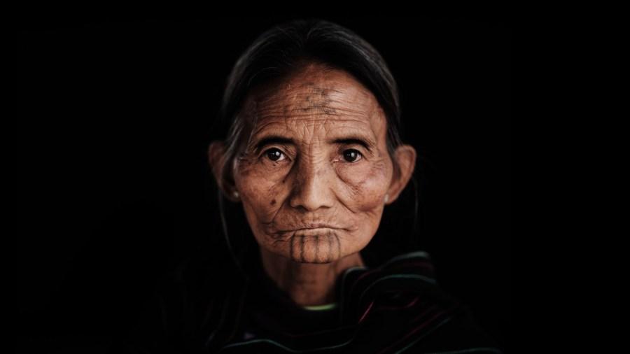 Myanmar Tattooed Face - Khiamniungan Naga