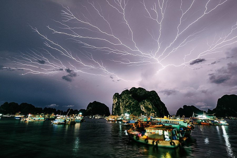 Lightning Storm, Ha Long City, Vietnam